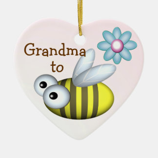 Grandma to Bee/ Expecting announcement Ceramic Heart Decoration