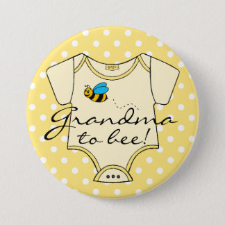 Grandma To Bee Yellow and White 7.5 Cm Round Badge
