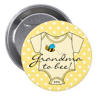 Grandma To Bee Yellow and White 7.5 Cm Round Badge
