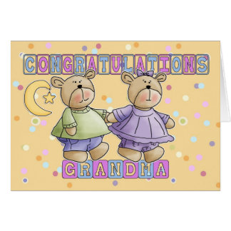 Grandma To New Baby Twins Congratulations Greeting Card