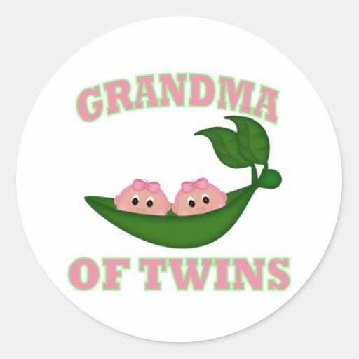 Grandma to Twin Girls Round Sticker