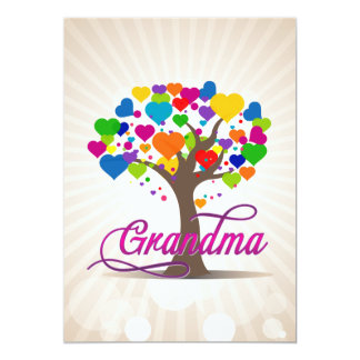 Grandma Tree of Life Hearts 13 Cm X 18 Cm Invitation Card