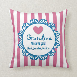 GRANDMA We Love You with Heart and Stripes B03 Cushion
