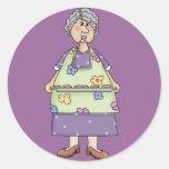 Grandma with Cookies Design Round Sticker
