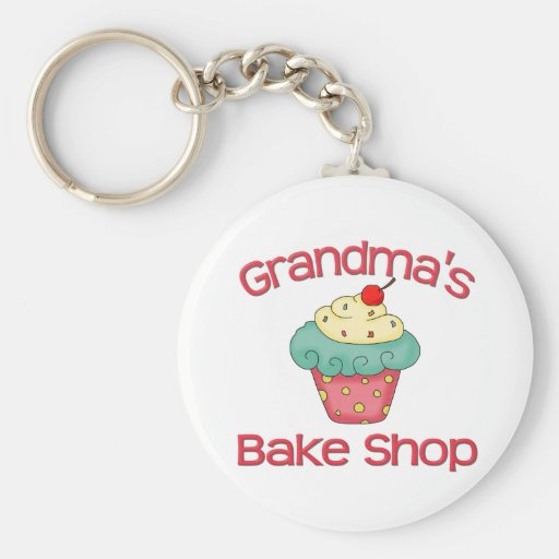 Grandma's bake shop basic round button key ring
