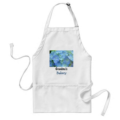 Grandma's Bakery aprons Blue Floral Hydrangeas