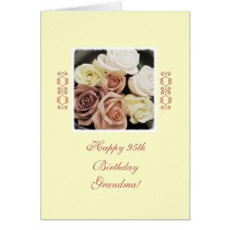 Grandma's birthday roses pastel greeting card