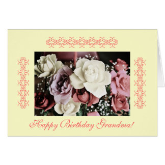 Grandma's birthday roses- pastels greeting card