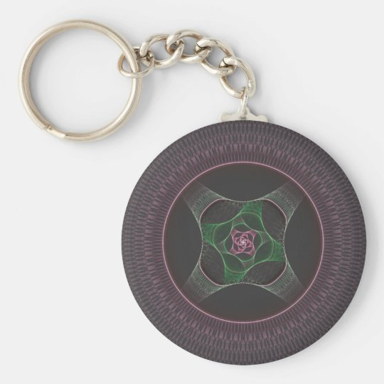 Grandma's Cabbage Rose Doily Basic Round Button Key Ring