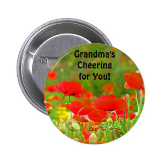 Grandma's Cheering for You! button Red Poppies