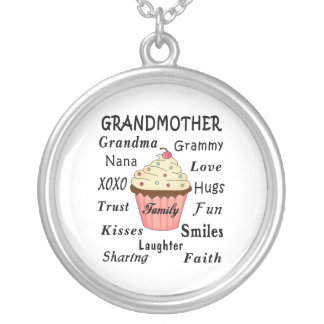 Grandma's Cupcakes For Grandmothers Silver Plated Necklace