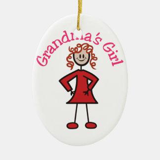 Grandmas Girl Double-Sided Oval Ceramic Christmas Ornament