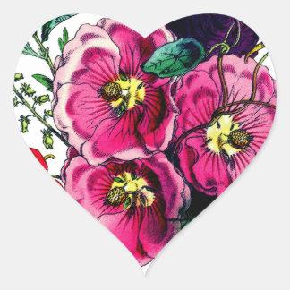 Grandmas Hollyhock Bouquet Heart Sticker