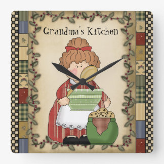 Grandma's Kitchen Cartoon Wall Clock