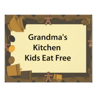 Grandma's Kitchen Kids Eat Free 11 Cm X 14 Cm Invitation Card