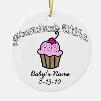 Grandma's Little Cupcake - Pink - Your Name Christmas Ornament