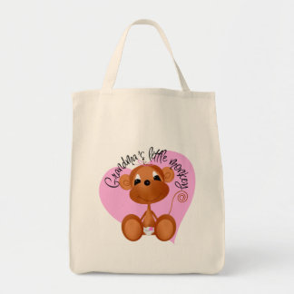Grandma's Little Monkey Tshirts and Gifts Grocery Tote Bag