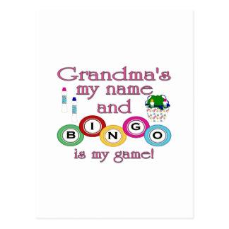 Grandmas my name Bingo is my game Post Card