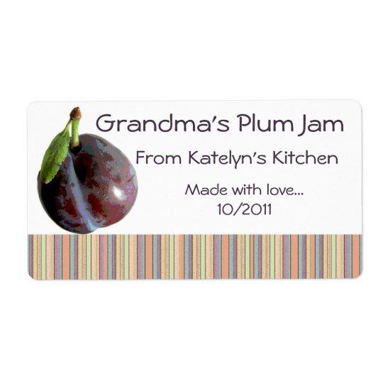 Grandma's Plum Jam Jar Label (Customise)