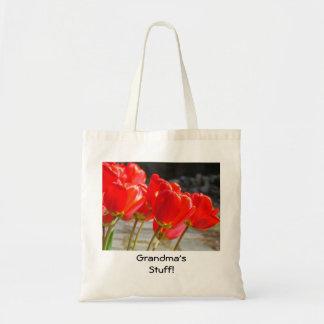 Grandma's Stuff tote bag Red Tulip Flowers Nana