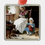 Grandmother and granddaughter sewing Silver-Colored square decoration