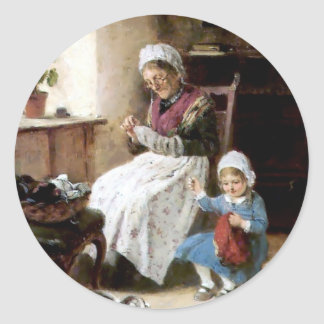 Grandmother and granddaughter sewing round sticker