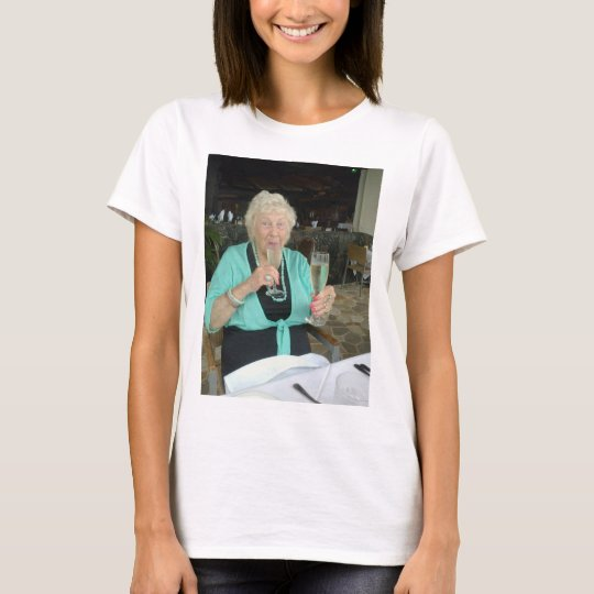 grandmother and her birthday T-Shirt