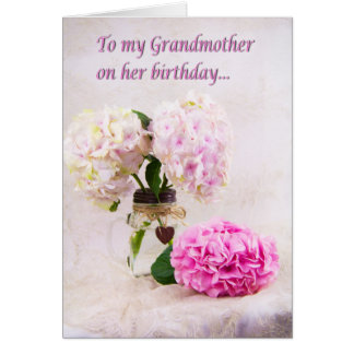 Grandmother Birthday Pink Hydrangeas Card