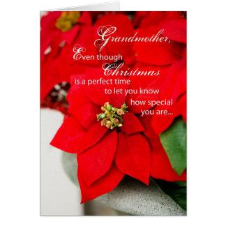 Grandmother Christmas Poinsetta Greeting Card