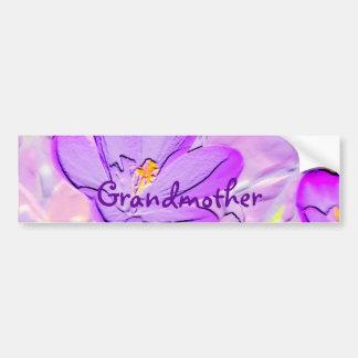 Grandmother Embossed Purple Crocus Bumper Sticker