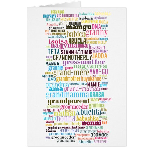Grandmother In Many Languages Mothers Day Card