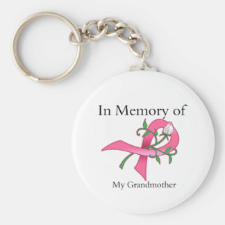 Grandmother - In Memory - Breast Cancer Basic Round Button Key Ring