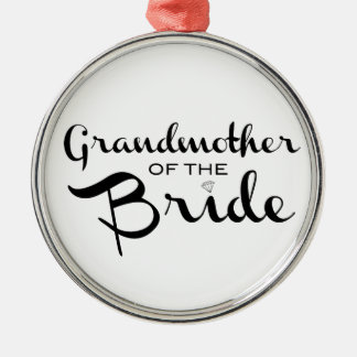 Grandmother of Bride Black on White Silver-Colored Round Decoration