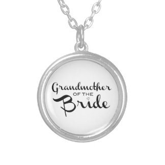 Grandmother of Bride Black on White Silver Plated Necklace