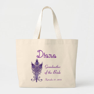 GRANDMOTHER of BRIDE or ANY Wedding Role PEACOCK Large Tote Bag