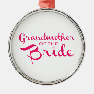 Grandmother of Bride Pink on White Ornament