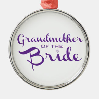 Grandmother of Bride Purple on White Christmas Ornament
