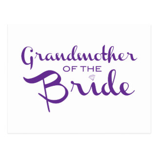 Grandmother of Bride Purple on White Postcard