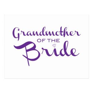 Grandmother of Bride Purple on White Postcards