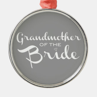 Grandmother of Bride White on Grey Ornaments