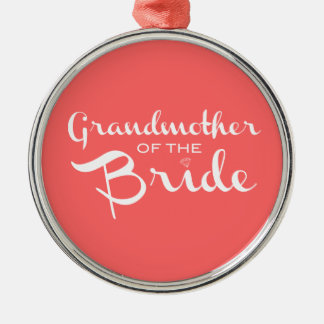 Grandmother of Bride White on Peach Silver-Colored Round Decoration