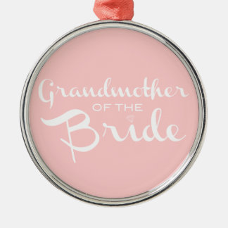 Grandmother of Bride White on Pink Ornaments
