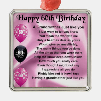 Grandmother Poem - 60th Birthday Silver-Colored Square Decoration