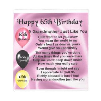 Grandmother Poem  -  65th Birthday Notepad