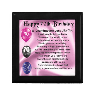 Grandmother Poem - 70th Birthday Jewelry Boxes