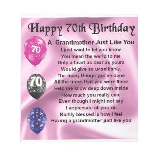 Grandmother Poem - 70th Birthday Notepad