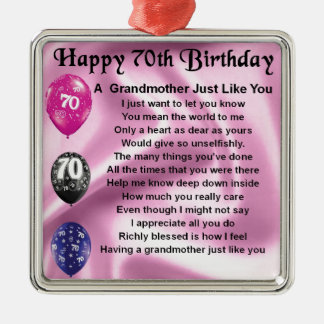 Grandmother Poem - 70th Birthday Silver-Colored Square Decoration