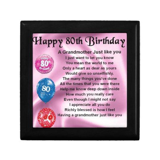 Grandmother poem - 80th birthday gift box