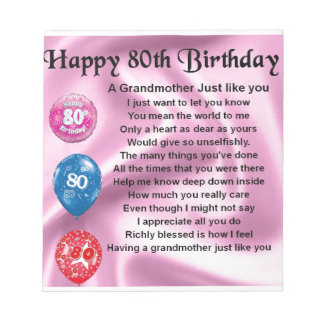 Grandmother poem  -  80th birthday notepad