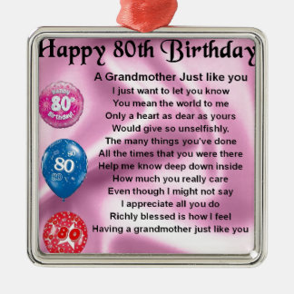 Grandmother poem  -  80th birthday Silver-Colored square decoration